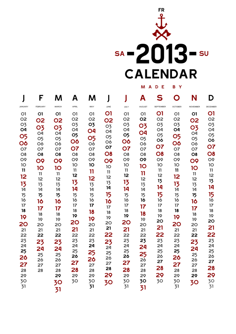 2013 Calendar by Jason by JasonForesterII