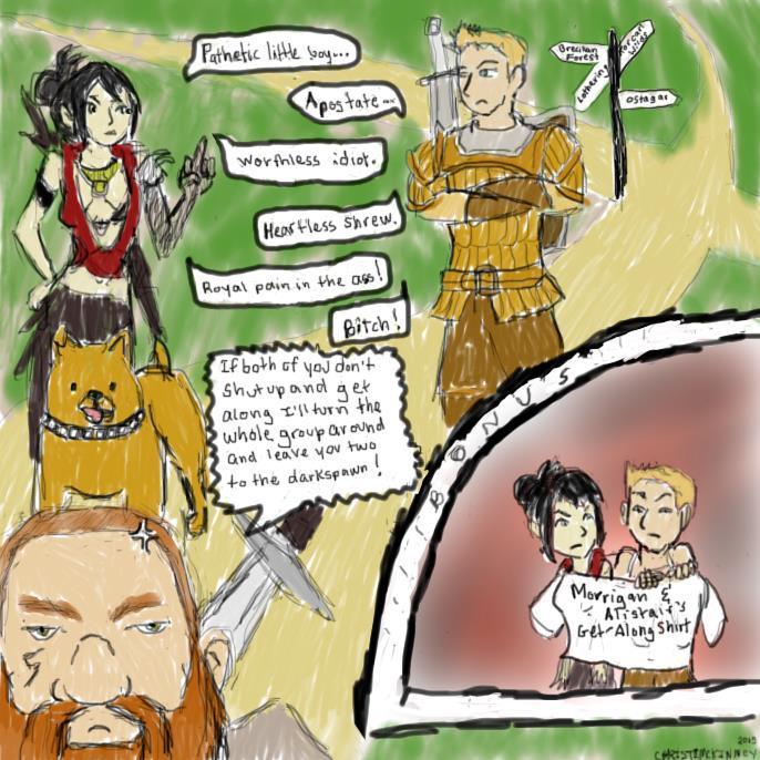 Morrigan and Alistair bicker by heartsyhawk