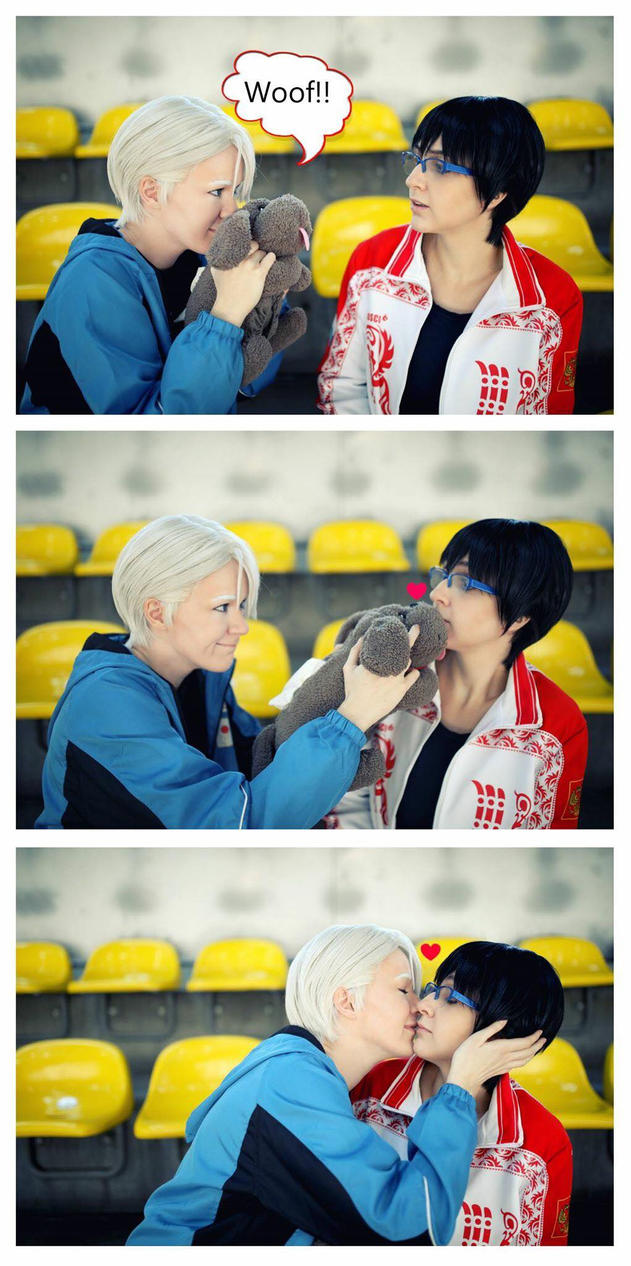 Give Makkachin a kiss,Yuri! -Yuri On Ice Cosplay- by Hatchikokoono
