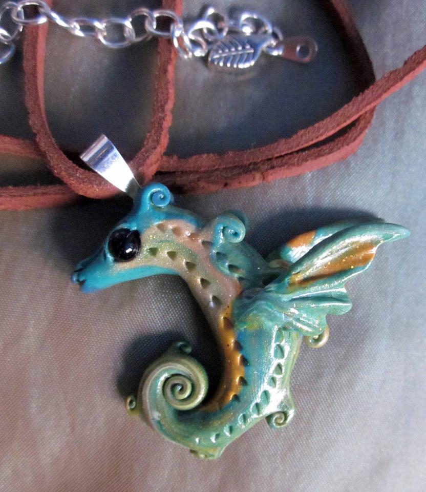 little green dragon pendant by carmendee