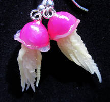 mini pink jelly fish earrings by carmendee