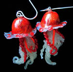 fall colored jelly fish earrin