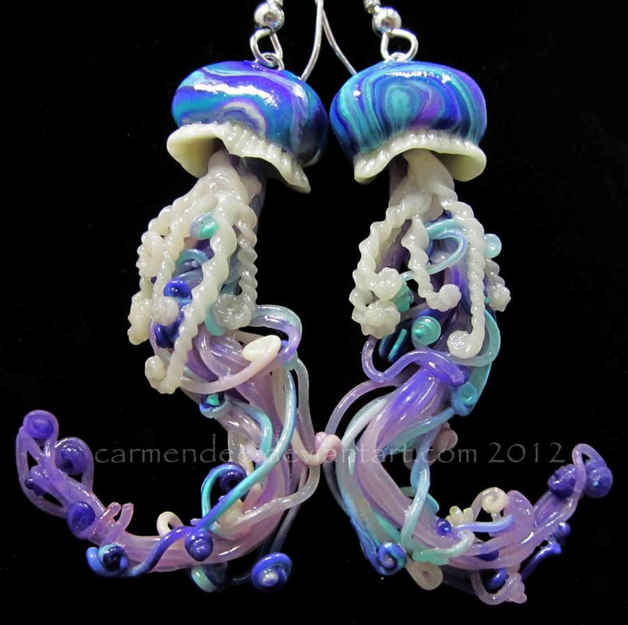 Jellyfish earrings purple and teal by carmendee