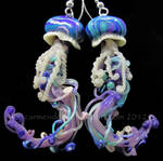 Jellyfish earrings purple and teal
