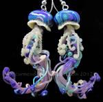 Jellyfish earrings purple and teal