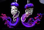 Magenta and purple jellyfish earrings
