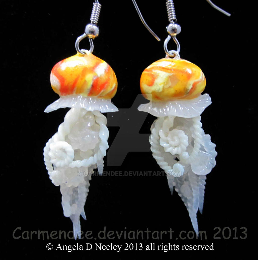 yellow jellyfish earrings by carmendee