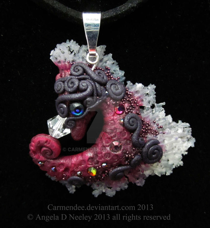 Burgundy Seahorse Pendant by carmendee