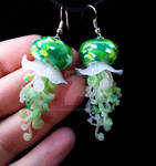 Green jellyfish earrings