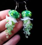 Green jellyfish earrings