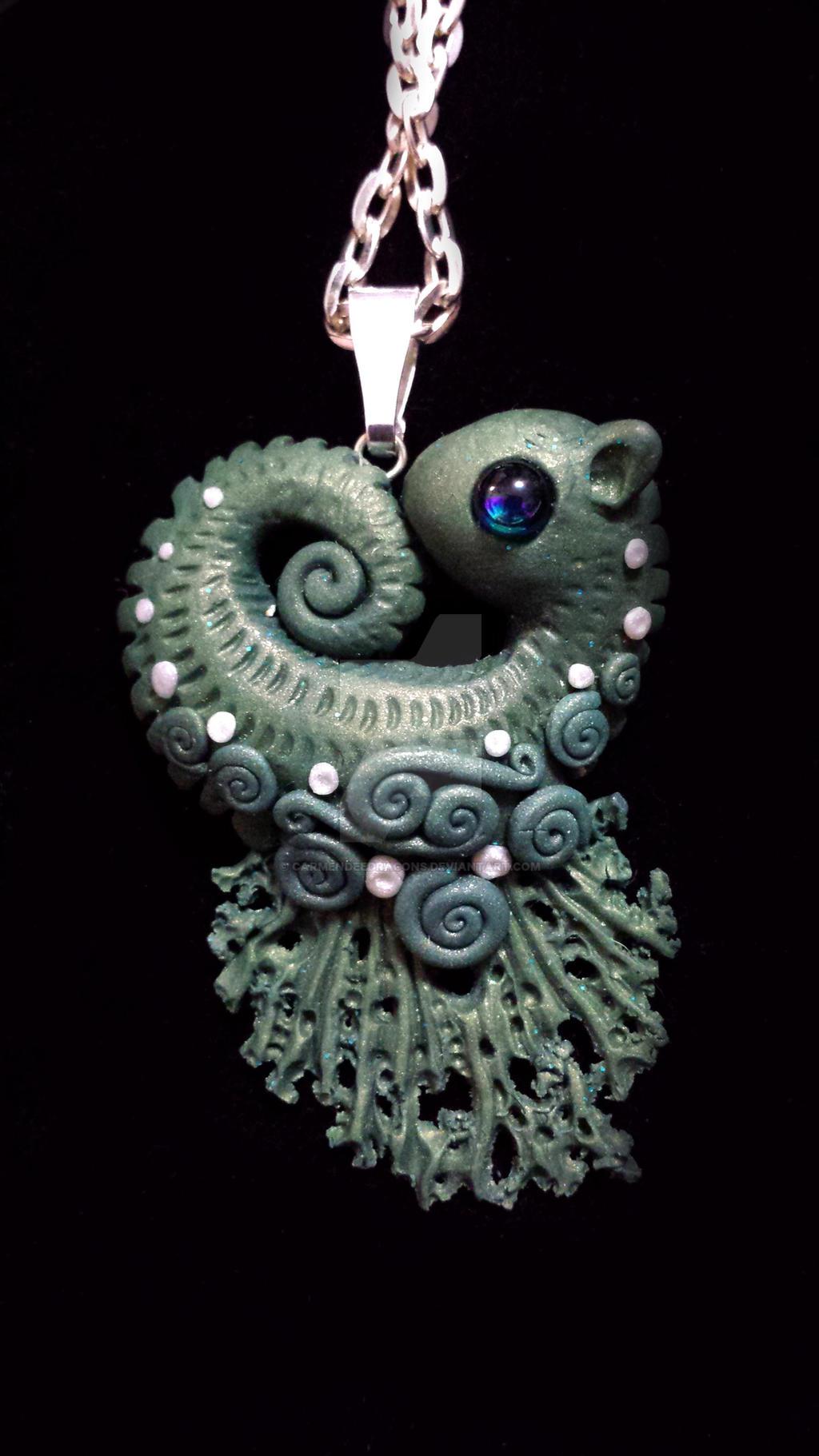 seaweed green seahorse polymer-clay pendant