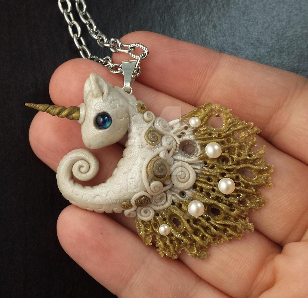 Unicorn Seahorse polymer clay pendent