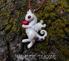 Little albino baby dragon polymer clay dragon by carmendee
