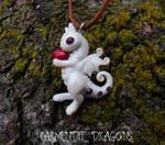 Little albino baby dragon polymer clay dragon
