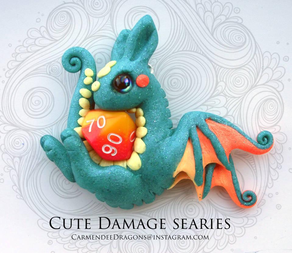 Cute Damage baby dice dragon necklace