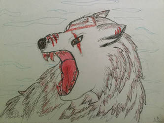 Angry White Wolf by DragonShadow2