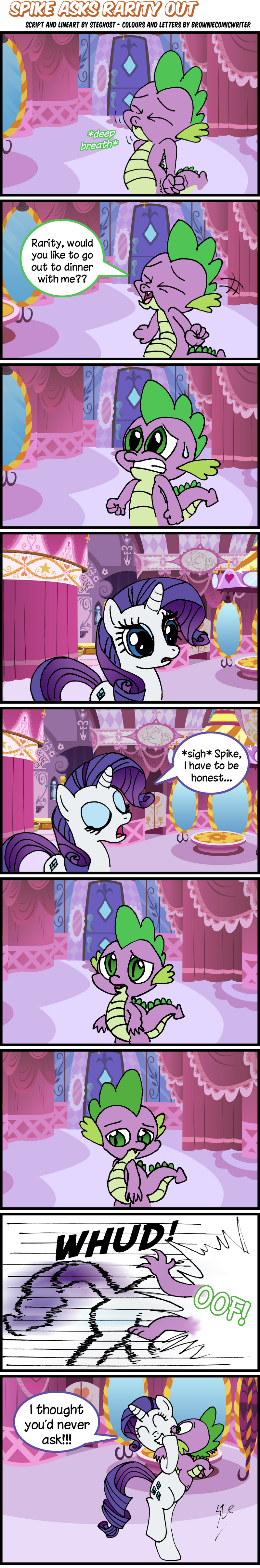 Spike Asks Rarity Out - Lineart By SteGhost by BrownieComicWriter