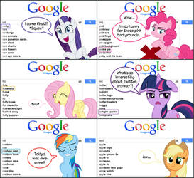 The Mane Six in Google Images by GreenLinzerd