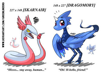 Double Pokefusions 5: Skarnair and Dragomory by GreenLinzerd