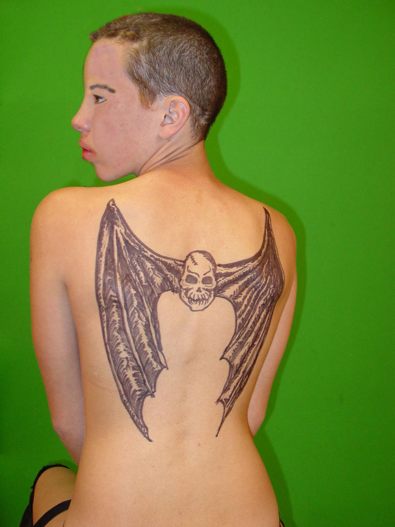skull bat wings tattoo by EBrummer