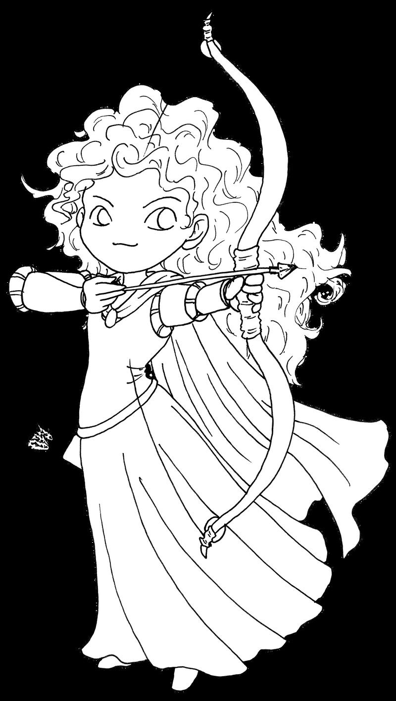 Brave merida bw by halsurfer on deviantart for Merida coloring pages