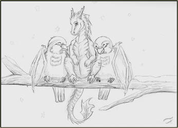 Two sparrows and dragon by Mutabi