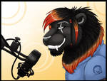 There's a lion at the microphone