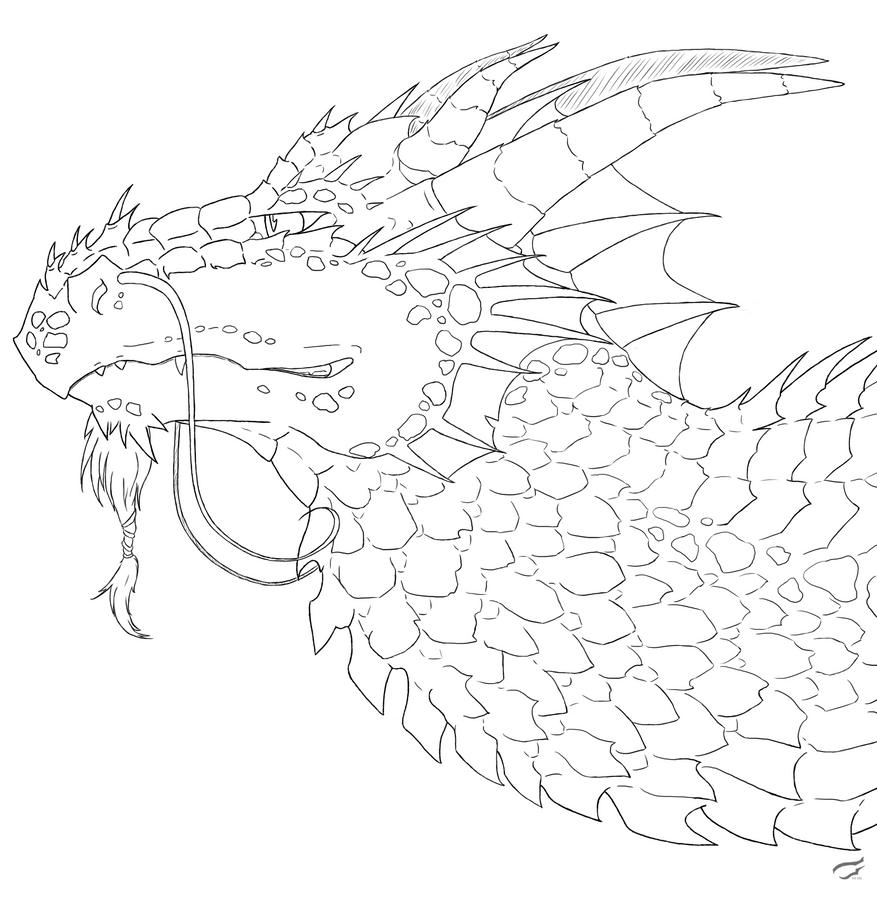 Dragon head free lineart by Mutabi
