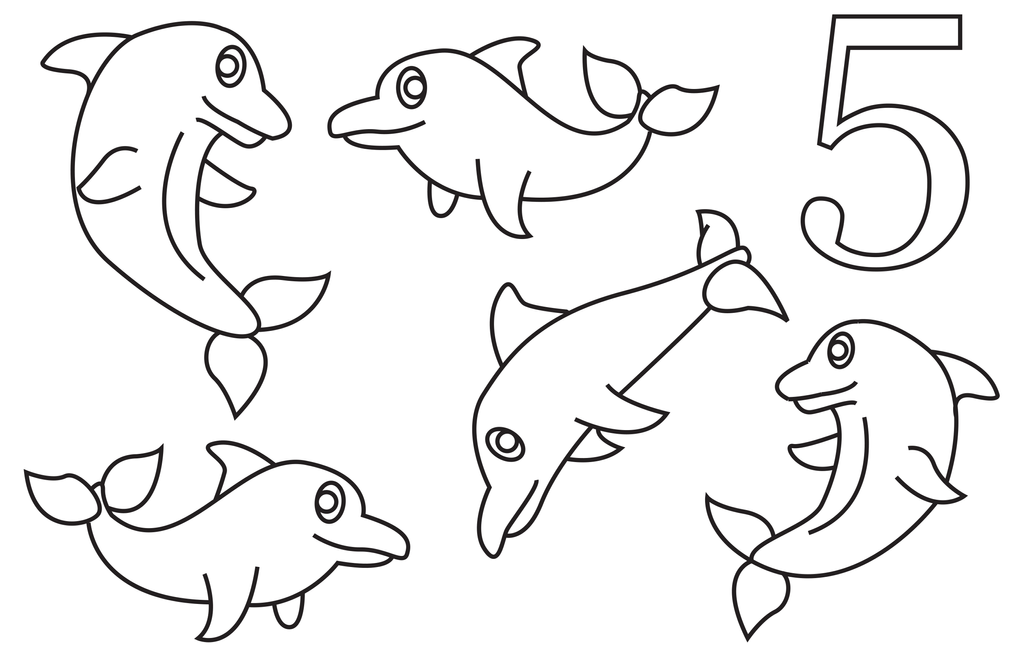 5 Dolphins Coloring Book Page by Cheekydesignz on DeviantArt