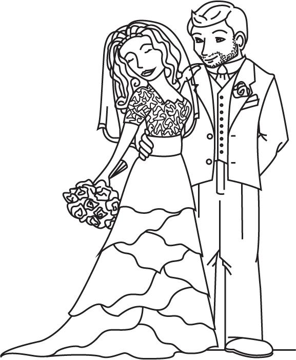 Отправить, раскраска свадебная открытка