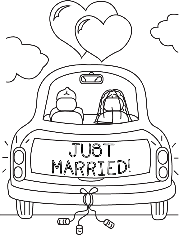 Just Married Coloring Book Page By Cheekydesignz