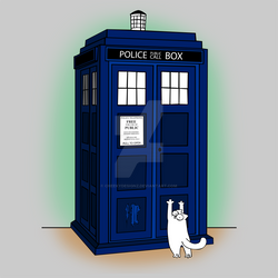 Simon's Cat and the Tardis by Cheekydesignz