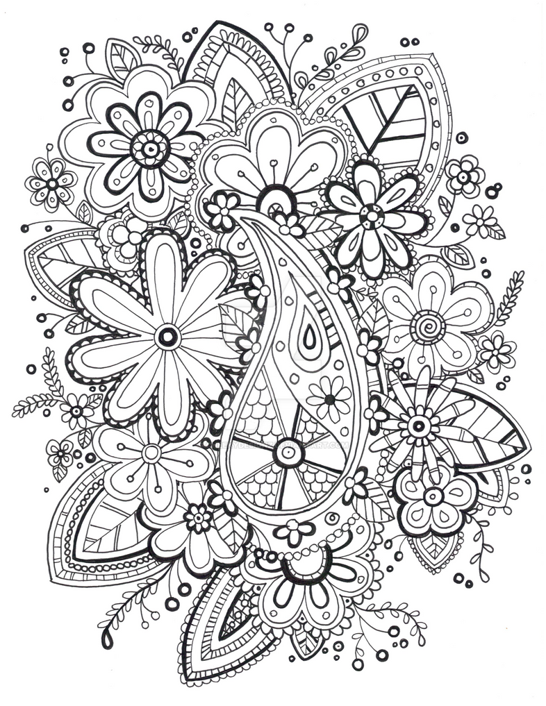 Coloring pages zentangle - Zentangle Coloring Page By Cheekydesignz