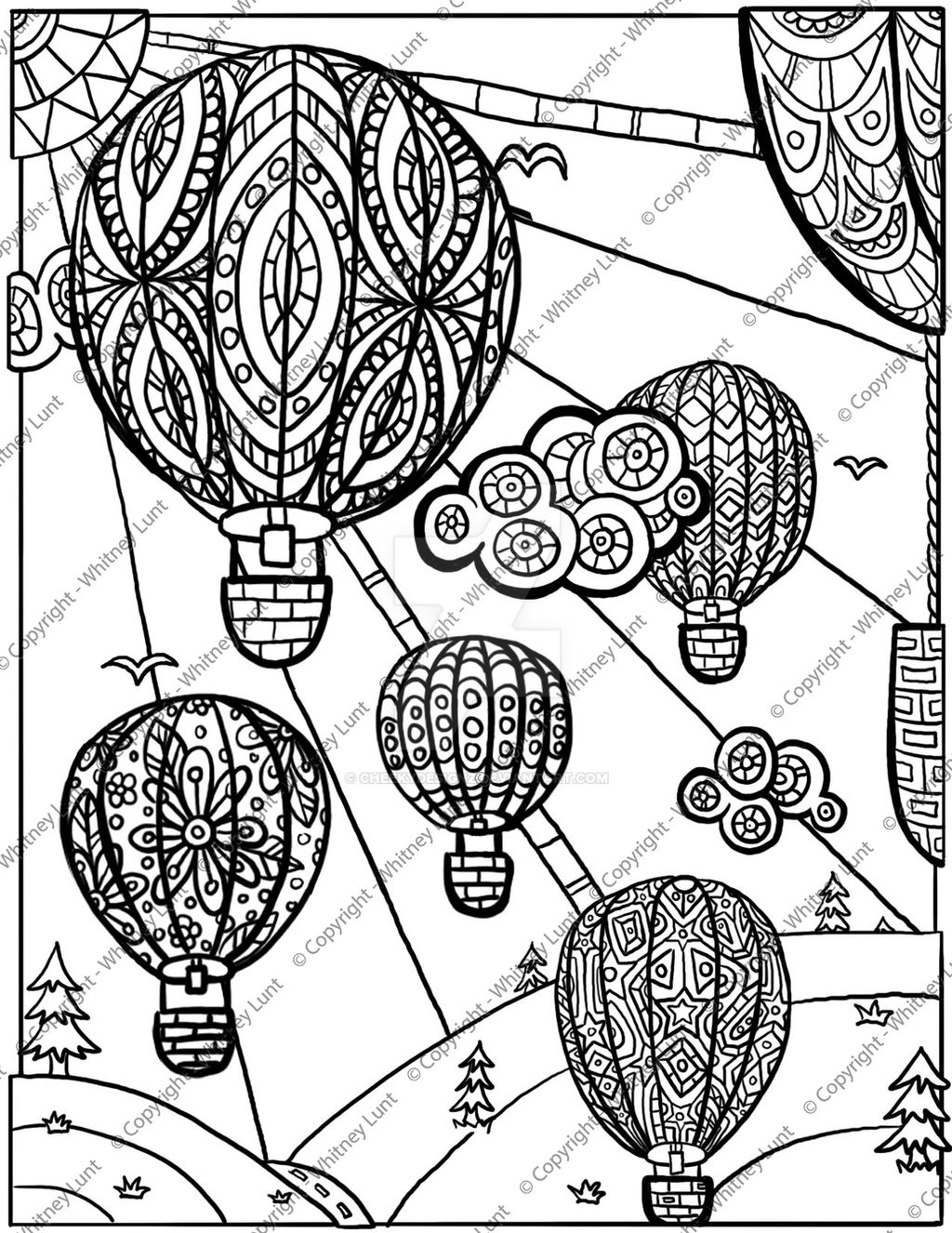 Full page balloon color page or template | Balão para colorir ... | 1326x1024