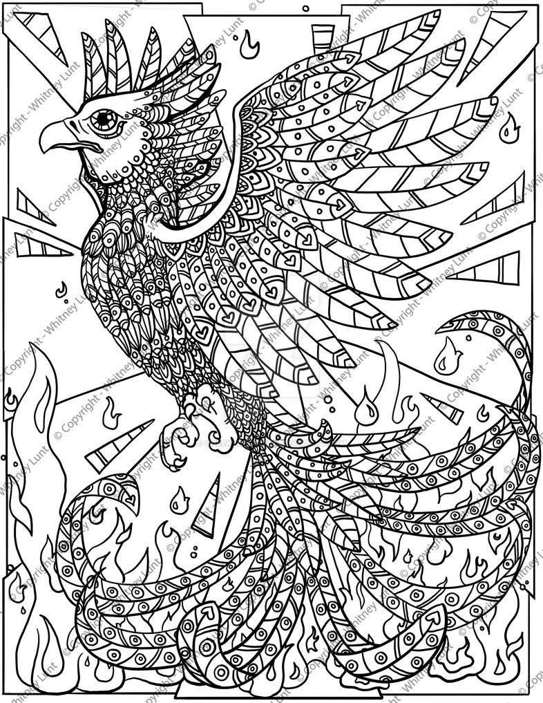 Phoenix Coloring Page By Cheekydesignz On DeviantArt