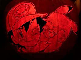 Ash and Pikachu pumpkin 2019