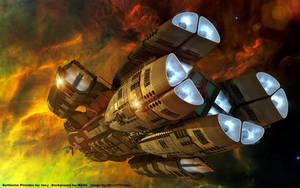 Battlestar Pleides Cruising by Nova1701dms