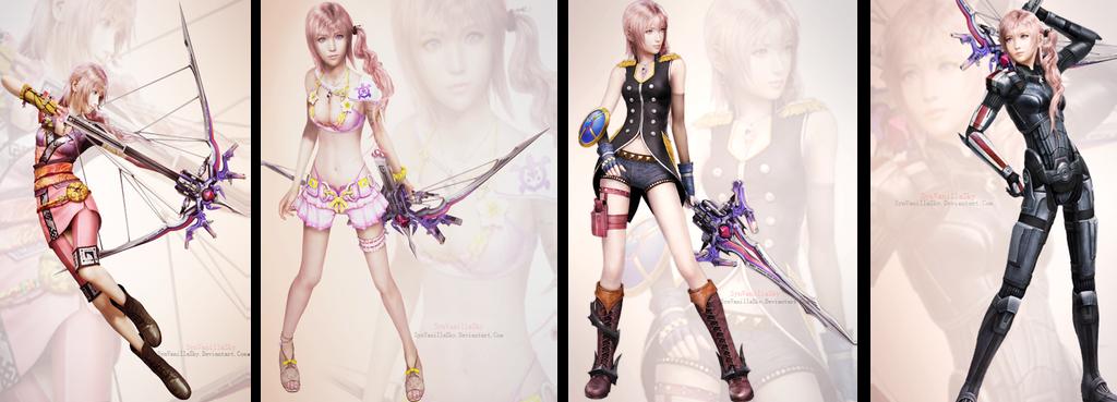 FFXIII-2: Serah Farron's DLC Costumes by SynVanillaSky