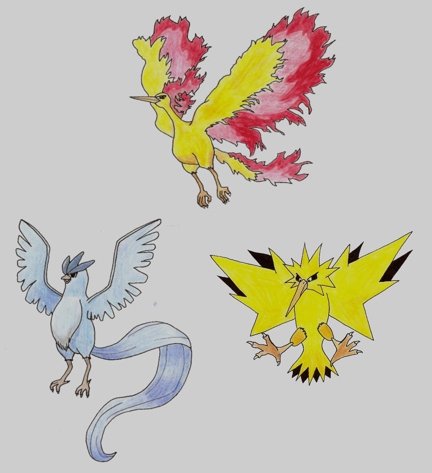 The Legendary Birds from Pokemon by krupping on deviantART