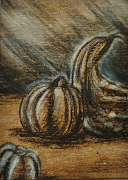 ACEO--Charcoal Pumpkins