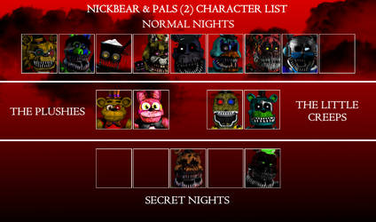 Nickbear And Pals 2 Character List by Nightmarefan50002