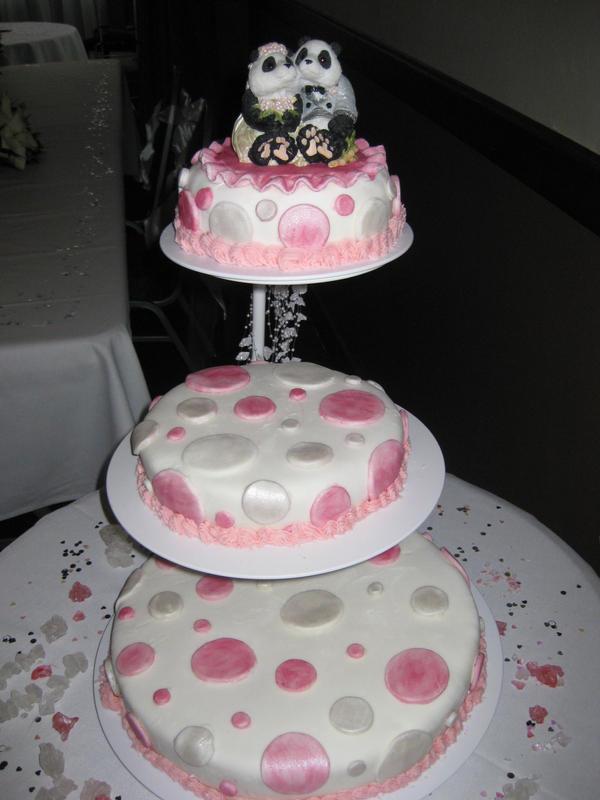 Polka dot Panda wedding cake