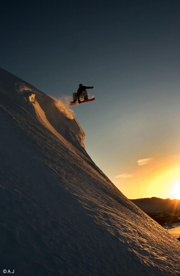 Snowboard - Sunset indy by AleckJo