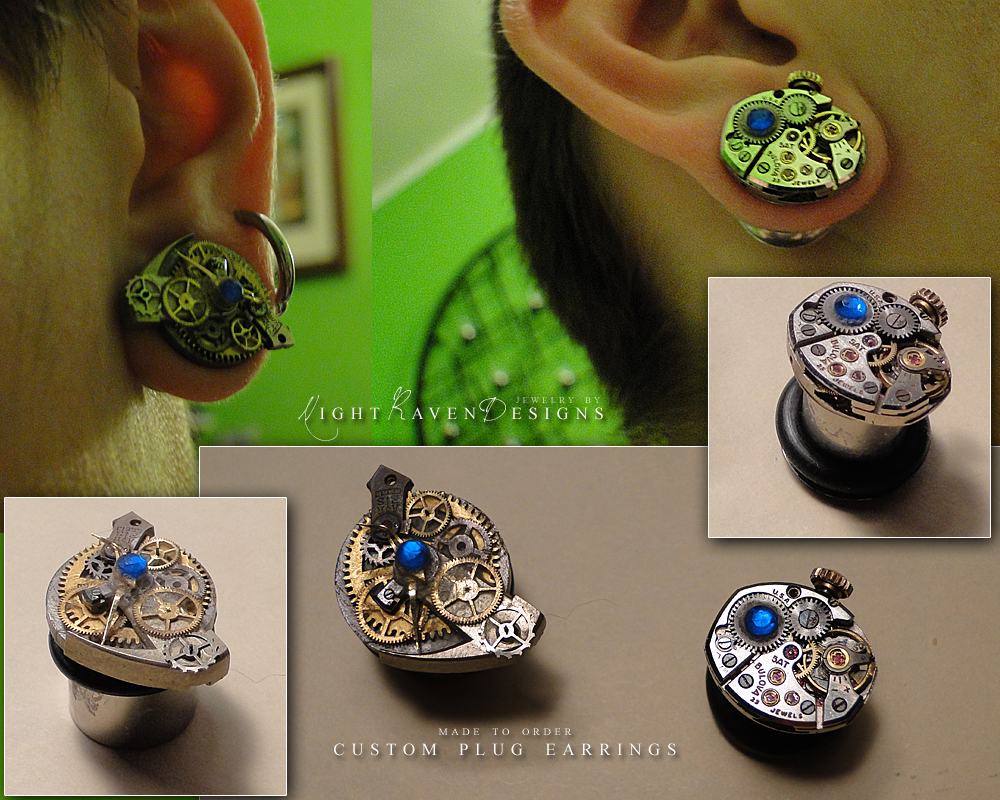 custom steampunk plugs by TheClockworkCrow