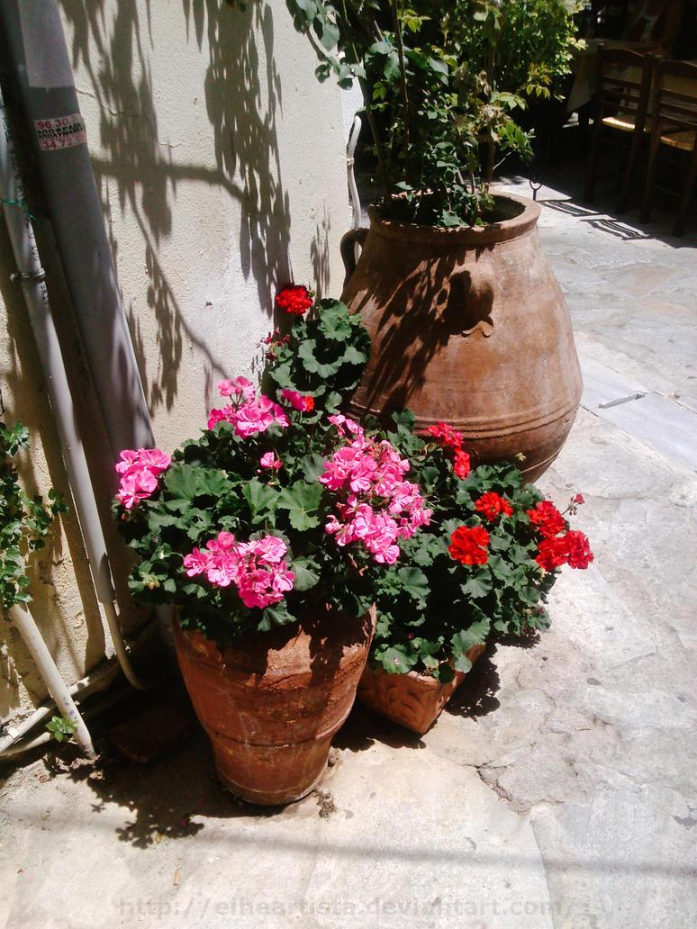 Vases at a street corner by elheartista