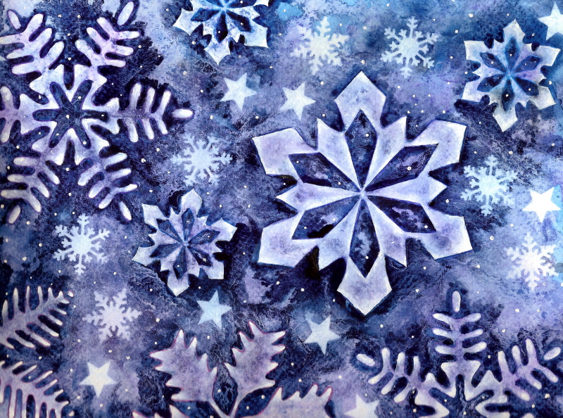 Snowflakes by sapphirewatercolor