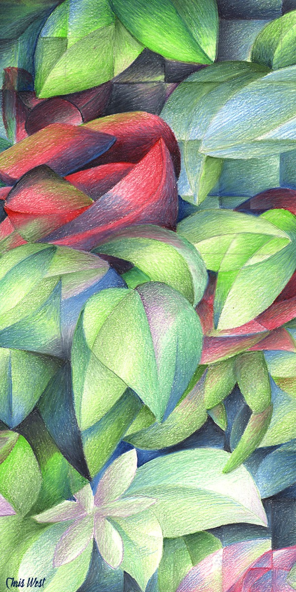 Cubism Flower Art Cubist flower drawing by Rainbow Rose Drawing