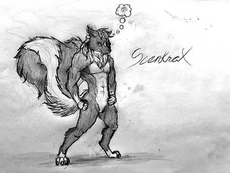 Scentrax. (timberwolf-skunk hybrid)
