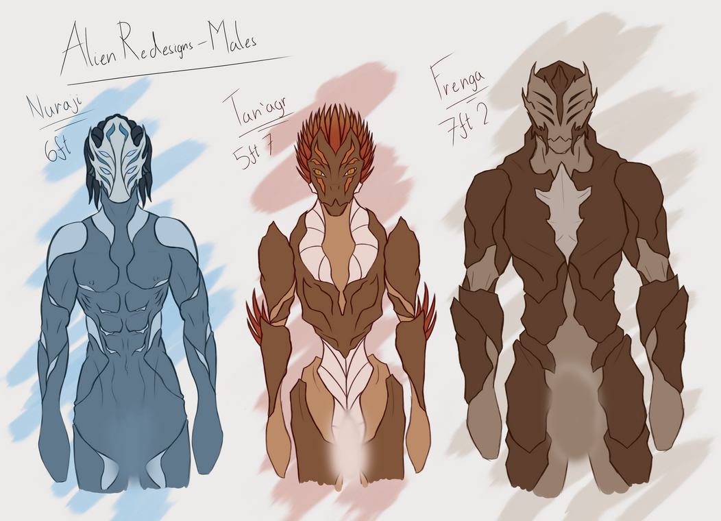 Alien Redesign Sketches - Male by Blitzz09