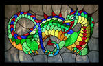 Stained glass dragon window